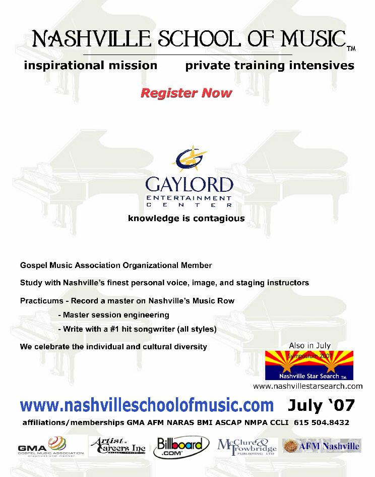 Nashville School of Music 2007 ad in South Central Mailer, CCLI, GMA