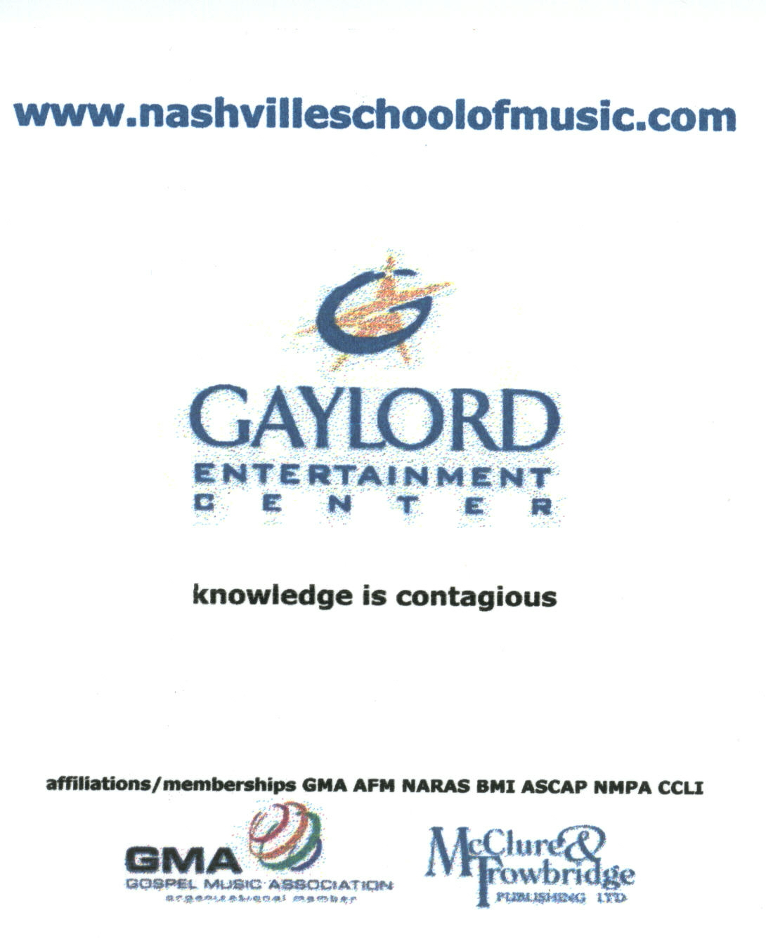 Nashville School of Music 2007 ad in Sing Out!, No Depression, GMA